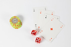 Cards And Dices With Chips