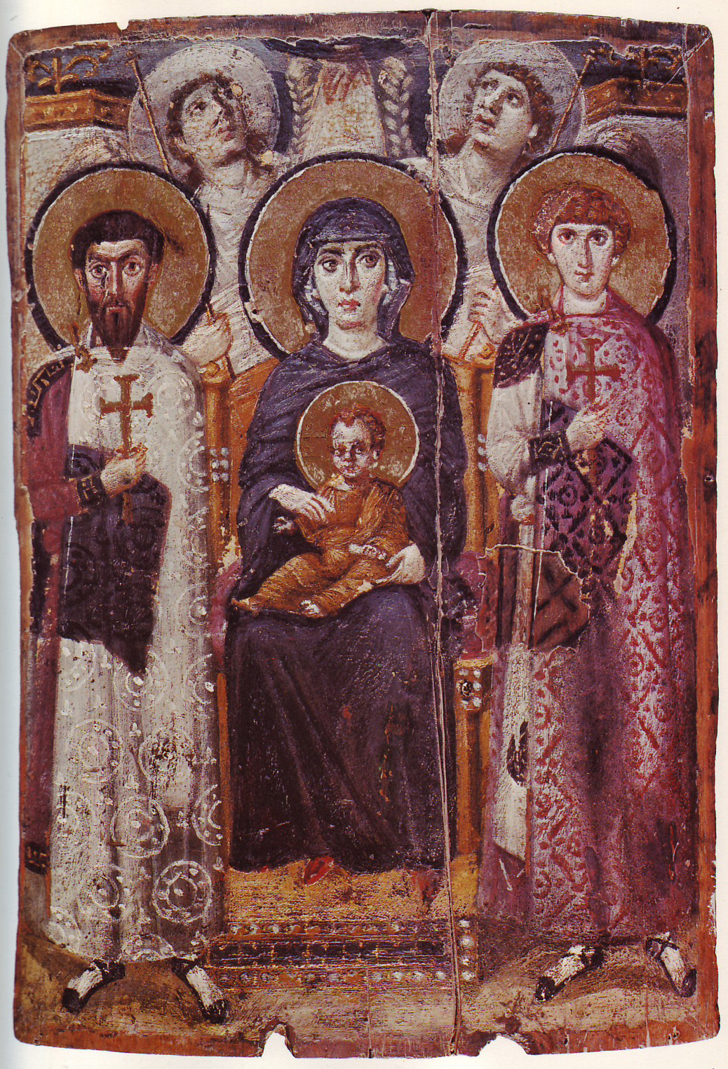 Icon of the enthroned Virgin and Child with saints and angels, and the Hand of God above. 68.5 x 49.7 cm. Saint Catherine's Monastery, Sinai, Egypt, perhaps the earliest iconic image of the subject to survive.