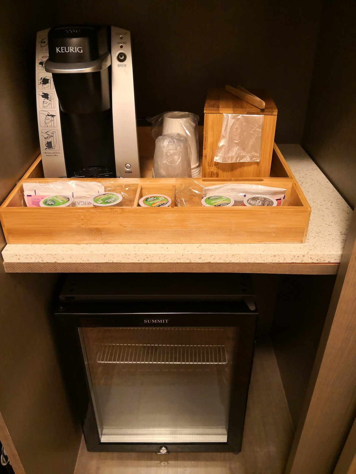 Coffee maker and empty mini fridge