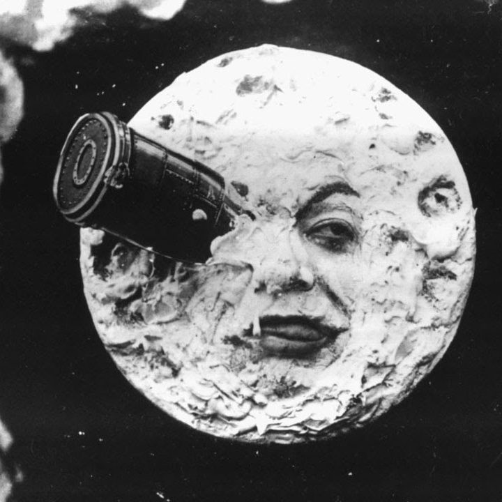 Iconic image of the Man in the Moon as seen in a screenshot of the 1902 film A Trip to the Moon