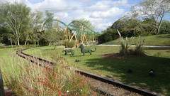 Florida - Tampa:  Busch Gardens Theme Park - view out of a Train car from the
