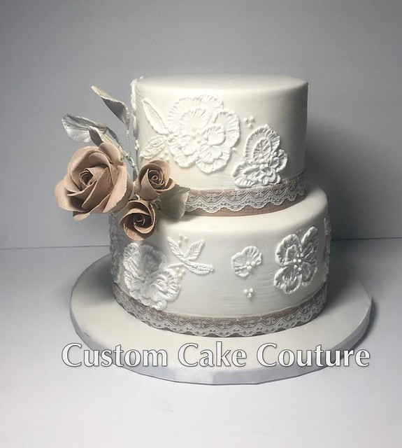 Brush Embroidery Lace with Burlap Sugar Flowers Cake by Debbie Pelletier Eshelby of Custom Cake Couture