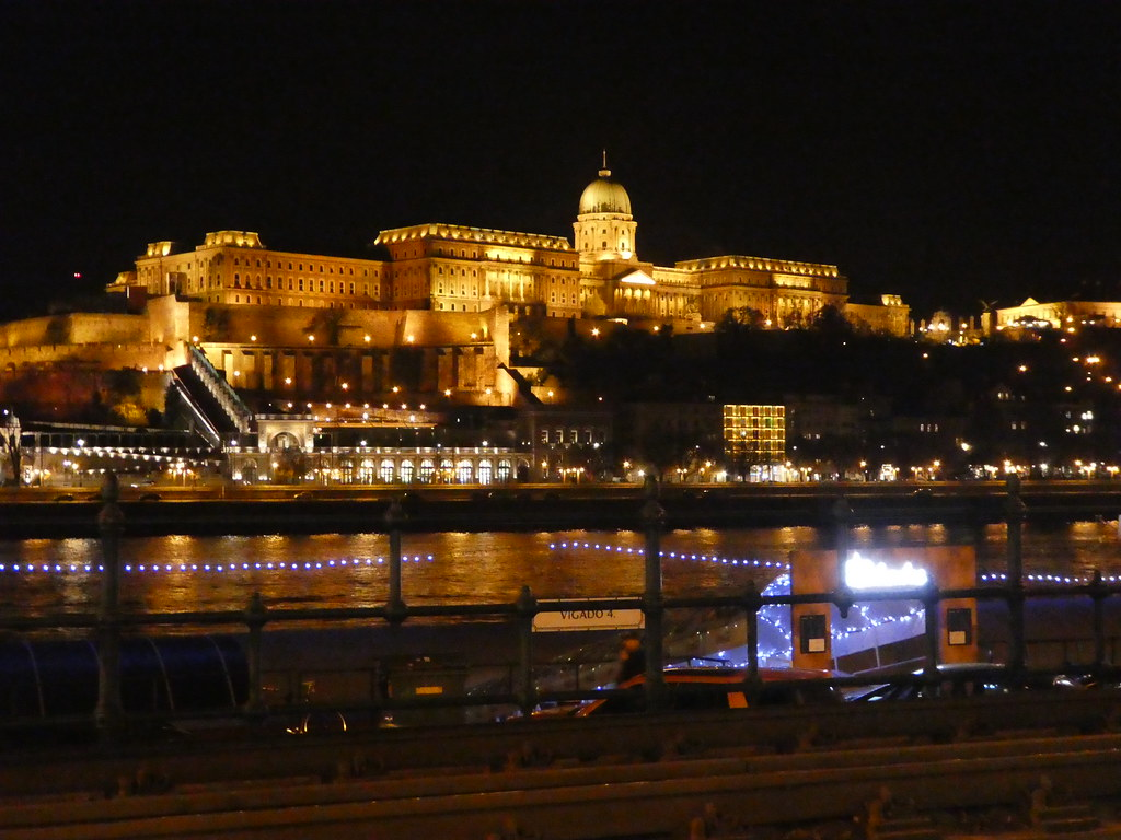 Buda Castle at night from the Pest riverside, Budapest
