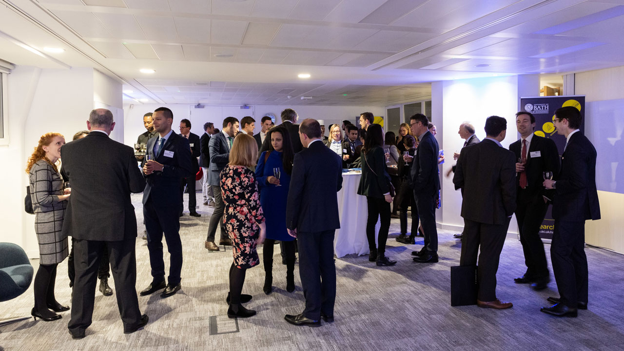 Alumni and guests at the University of Bath London offices for the Digital Transformation event