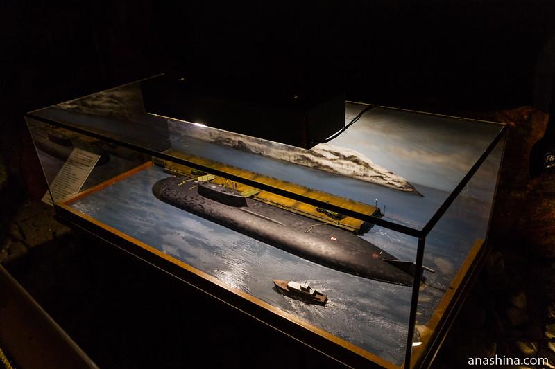 Макет подводной лодки, Музей катастроф на водах, Крым, Малореченское