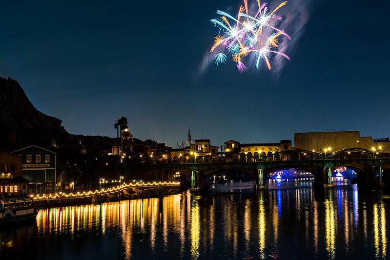 ディズニーシーの花火と夜景の写真