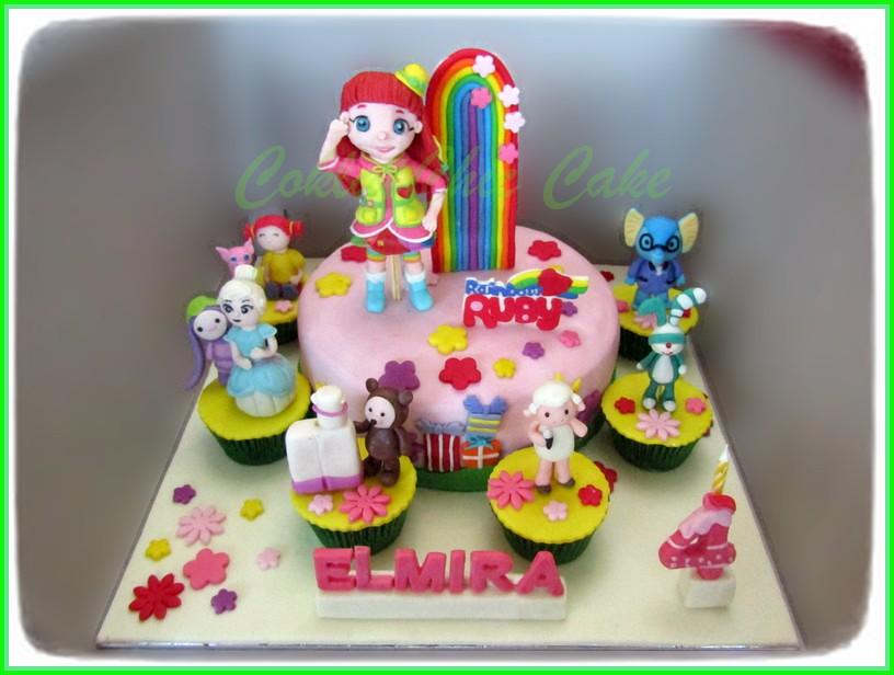 Cake dan Cupcake Rainbow Ruby ELMIRA 20 cm