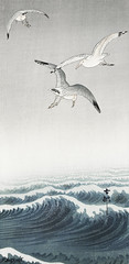 Three seagulls (1900 - 1936) by Ohara Koson (1877-1945). Original from The Rijksmuseum. Digitally enhanced by rawpixel.