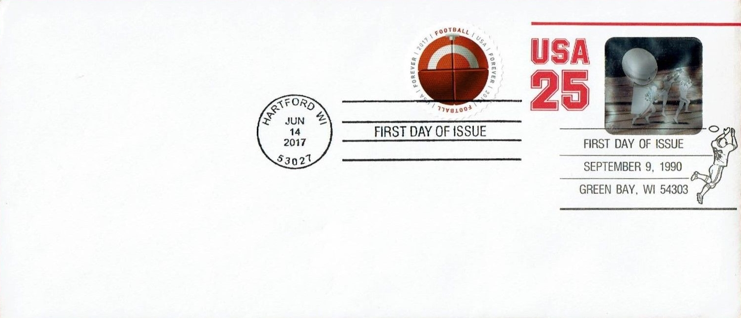 United States - Scott #U618 (1990) first day cover with Scott #5203 (2017) added