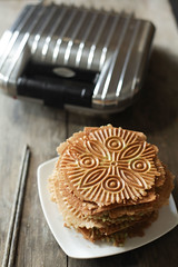 crispy pandan flavored banh kep and pizzelle iron