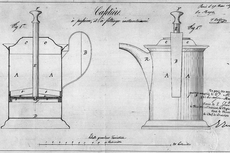 Những thiết kế đầu tiên của FrenchPress bởi Mayer và Delforge 1852