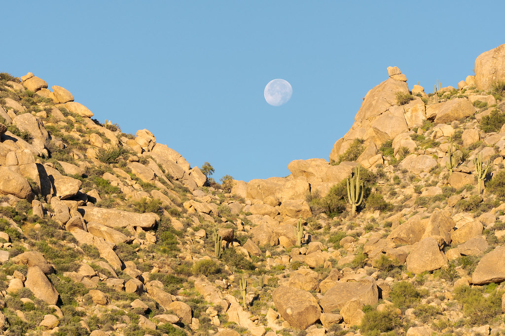 The moon is about to dip below the hills above the Marcus Landslide Trail in McDowell Sonoran Preserve in Scottsdale, Arizona