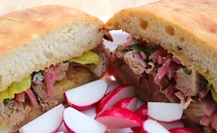 TOASTED FOCACCIA SANDWICH WITH VEAL & PICKLED ONIONS