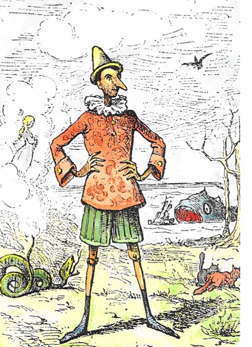 Pinocchio by Enrico Mazzanti (1852-1910) - the first illustrator (1883) of Le avventure di Pinocchio. Storia di un burattino - colored by Daniel DONNA