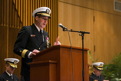 Rear Adm. Blake Converse delivers remarks during the change of command ceremony for Submarine Group 9. (U.S. Navy/MC1 Amanda R. Gray)