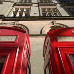 Red telephone boxes in Preston