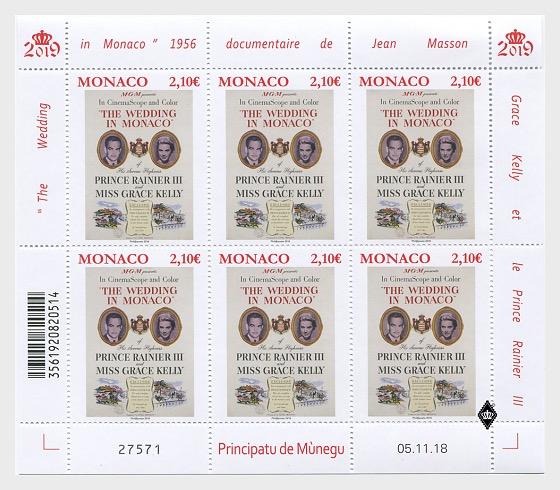 Monaco - Grace Kelly Movies: The Wedding in Monaco (January 14, 2019) sheet of 6