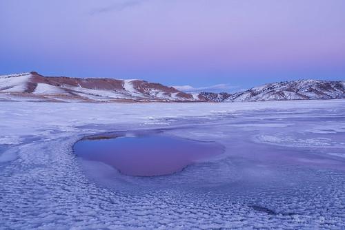 bluemesareservoir ice snow sunset venusbelt