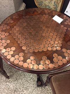 Table with coins top