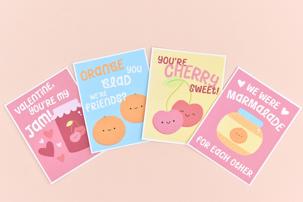 Cherry and Orange Jam Pun Printable Valentines