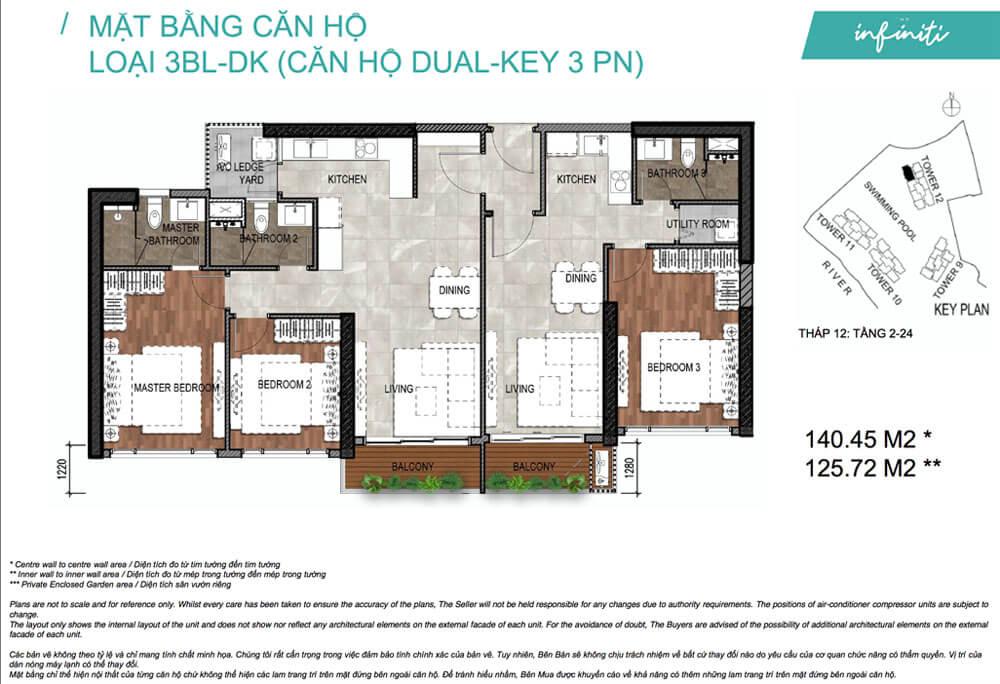 Mặt bằng căn hộ 3 phòng ngủ 2 chìa khóa (Duo Key) The Infiniti - Riviera Point quận 7.