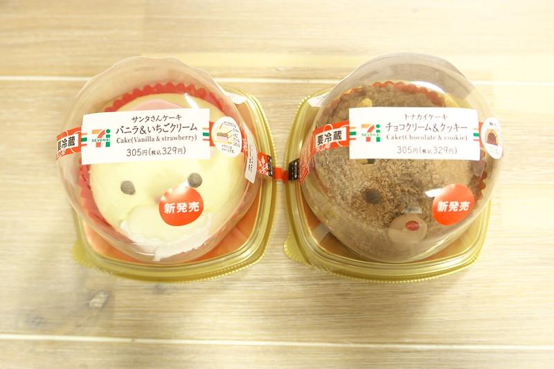 セブンイレブン サンタさんケーキ バニラ&いちごクリーム、トナカイケーキ チョコクリーム&クッキー