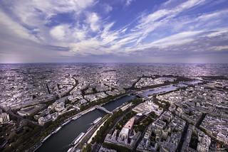View from Tour Eiffel - La Seine - Paris - France