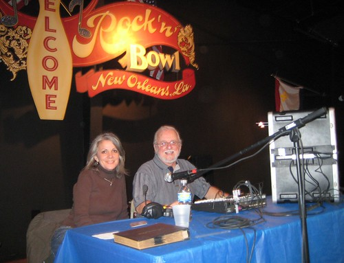Rock & Bowl DJs Sally Young & Billy Delle. WWOZ Party 11-4-2009. Photo courtesy Sally Young.