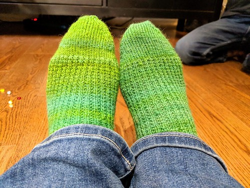 New handknit handspun Cheviot wool socks in Strie top-down pattern