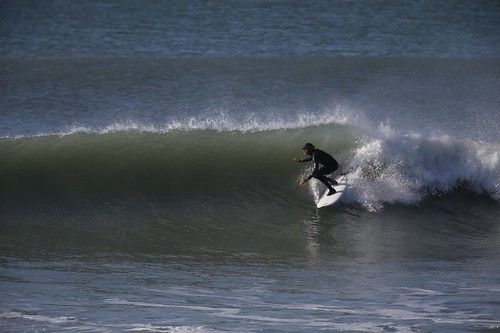 Larry surfing in New Zealand. Photo: Logan Murray