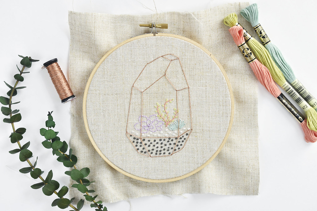 Succulent Terrarium Free Embroidery Pattern