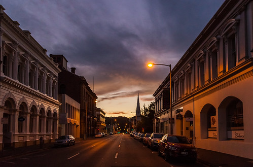 launceston tasmania sunset street view downtown urban australia