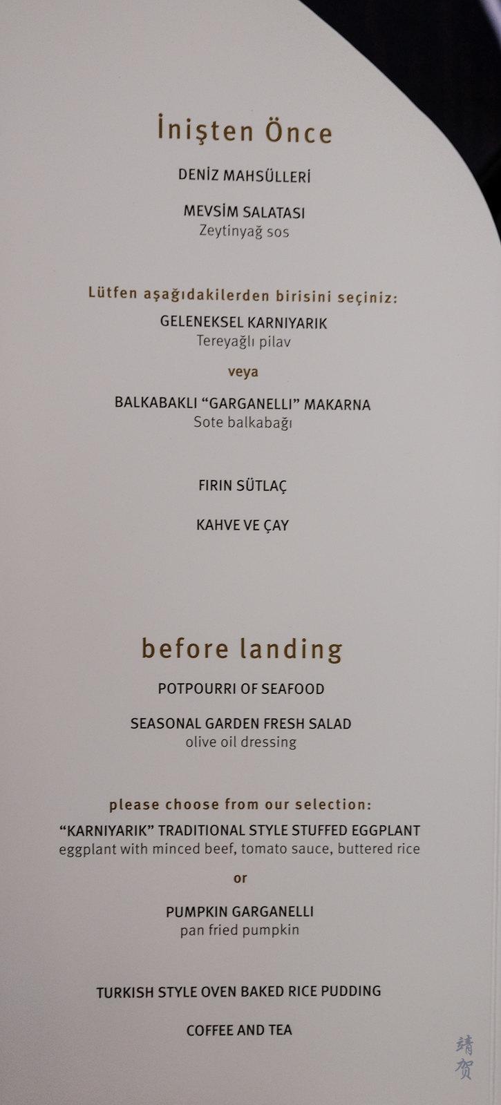 Before landing menu