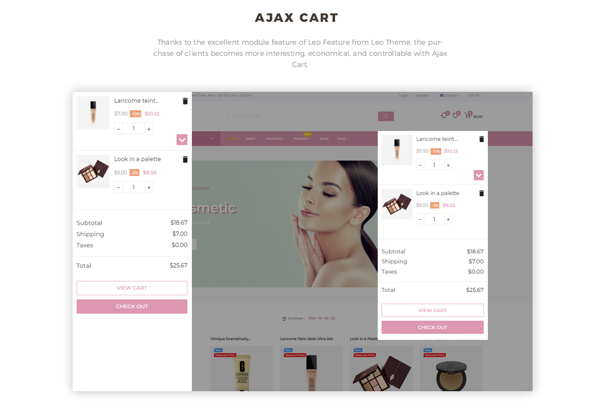 ajax add to cart - Leo Cosm Prestashop 1.7 theme - Cosmetic and Beauty Store - free install support