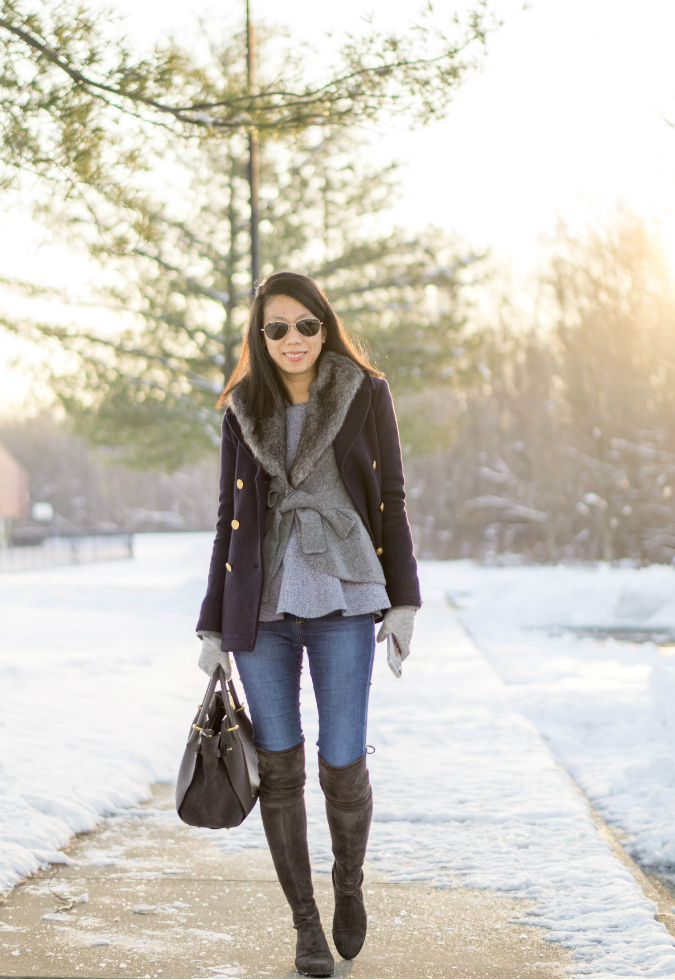 navy peacoat, Bois du Boulogne cardigan with faux fur collar via Anthropologie, theory peplum top, gray gloves, skinny jeans, Nina Ricci Marche tote, Stuart Weitzman Lowland over the knee boots in londra