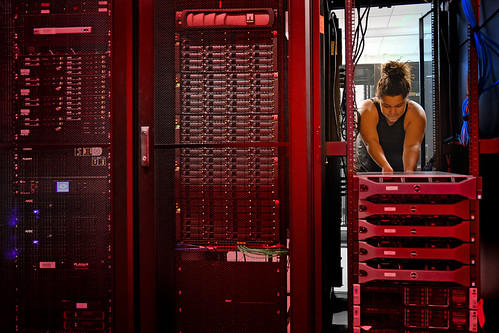 Cleveland Community College student works in the school's server room as a part of the Crisis Management curriculum that NC State's Industry Expansion Solutions helped facilitiate.