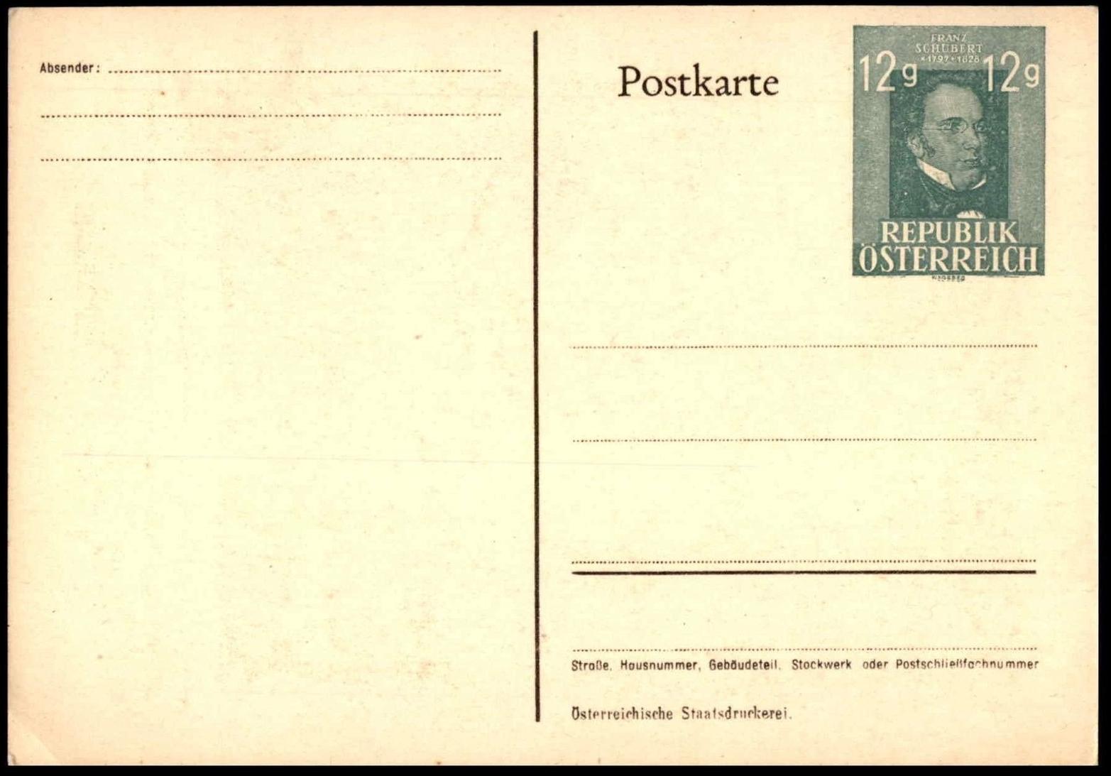 Austria - Franz Schubert postal card (1947)