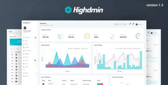 Highdmin v1.3 - Responsive Bootstrap 4 Admin Dashboard