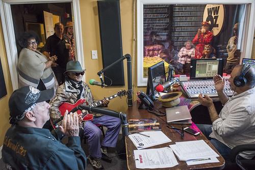 Little Freddie King on air with Marc Stone, Wacko Wade, Lilli Lewis at WWOZ's 38th birthday - 12.4.18. Photo by Ryan Hodgson-Rigsbee rhrphoto.com.