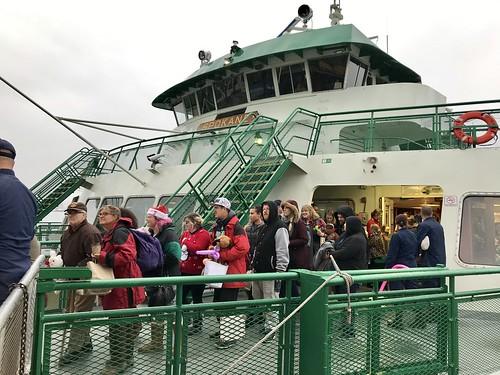 Guests disembark holiday cruise