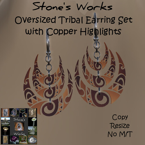 TRIBAL MOON Copper Earring Set Stone's Works