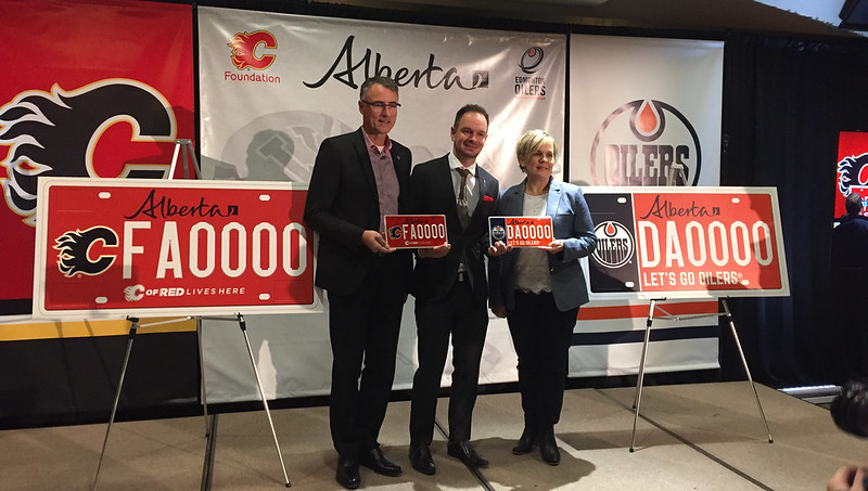 Flames and Oilers licence plates unveiled