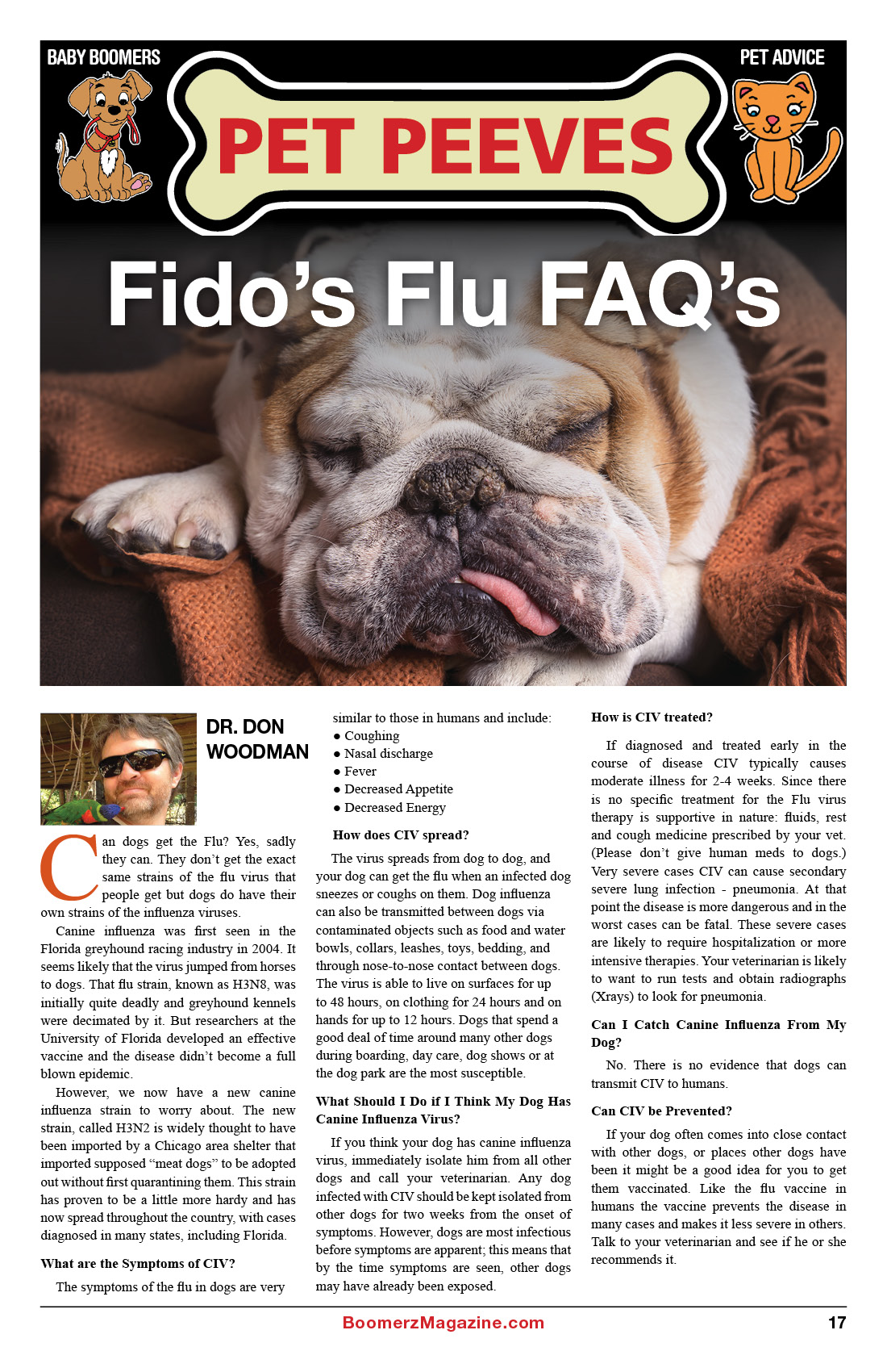 2018 October Boomerz Magazine Page 17 Pet Peeves Fidos Flu FAQ