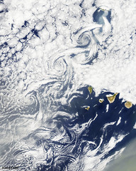 Cloud vortices off Madeira and Canary Islands. Original from NASA. Digitally enhanced by rawpixel.