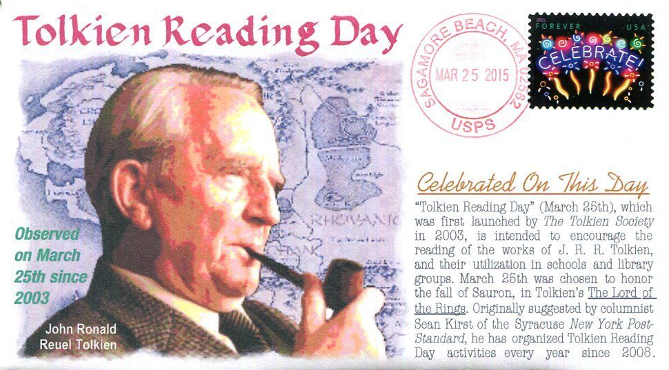 Philatelic cover from 2015 marking Tolkien Reading Day, held annually on March 25 since 2003.