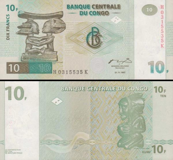 10 Frankov Kongo Dem.Rep. 1997, P87B