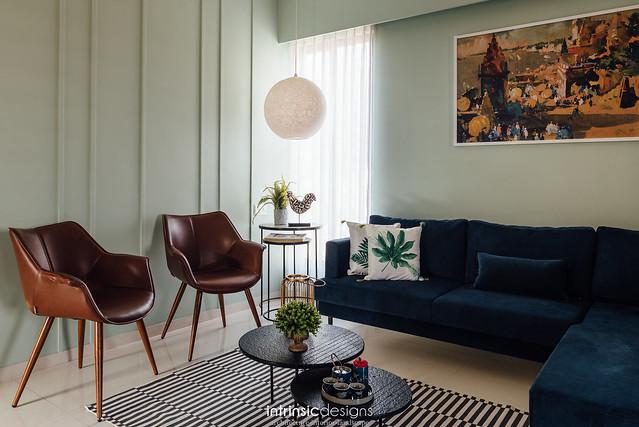 Paneled mint living room