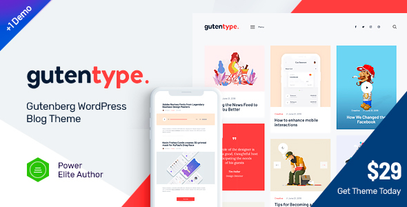 Gutentype v1.7.1 - 100% Gutenberg WordPress Theme for Modern Blog