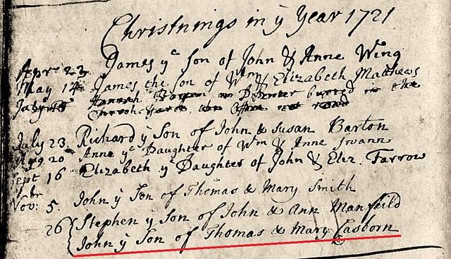 Casborn John bp Orwell 1721