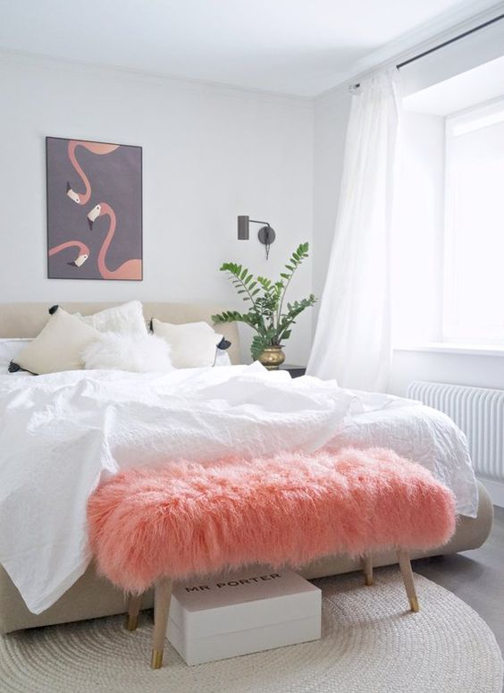 Living Coral Faux Fur Bench Neutral White Bedroom How to Decorate with Living Coral Pantone's Color of the Year